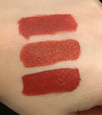 """Smashbox Always On """"Out Loud"""" (top), Fenty Mattemoiselle """"Freckle Fiesta"""", Too Faced Melted Matte """"Gingerbread"""""""