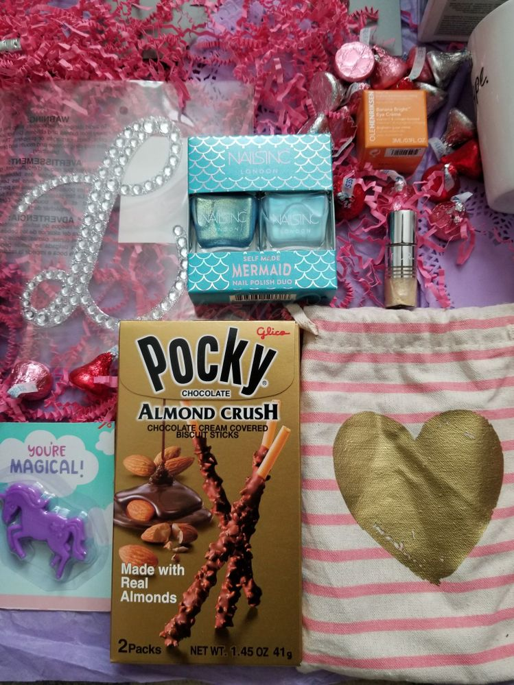 Pocky I've wanted to try for ages, Mermaid nail polish (which I'm currently sporting), and the new eye cream I can't wait to try.
